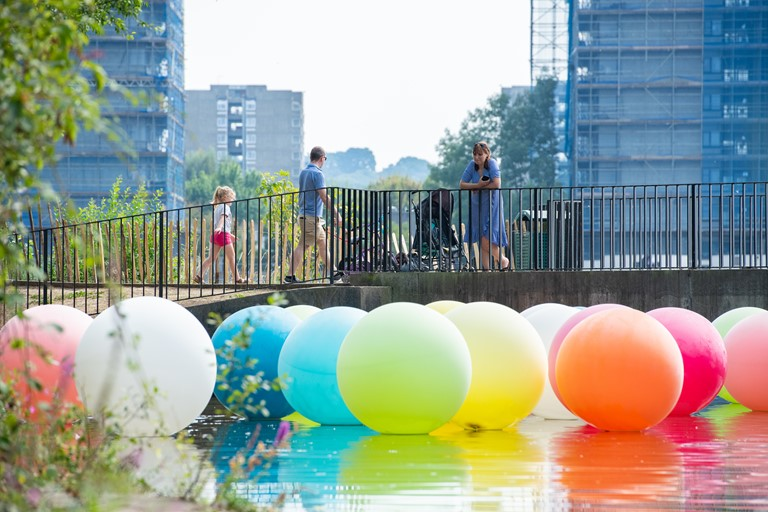 """Balloons"" art installation on Southmere Lake by artists Nathalie Coste and Selina Fukuda as part of the Thamesmead Markets in summer 2020 which were led by a group of local residents."